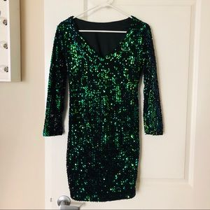 NEW ⭐️ Sexy Black Green Gold Party Sequin Dress